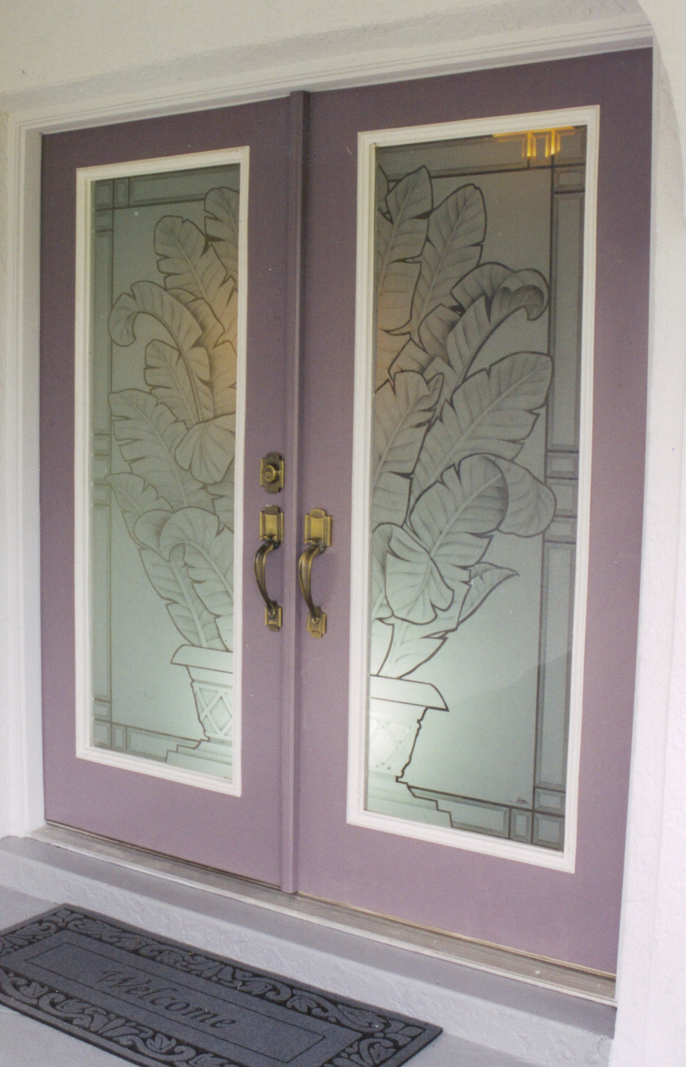 Doors etched glass etched glass design by premier for Etched glass entry doors